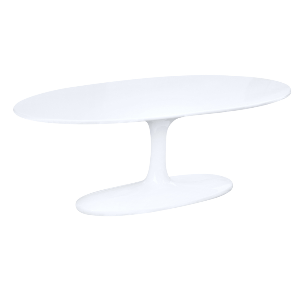 Fine Mod Imports  Flower Coffee Table Oval Fiberglass, White