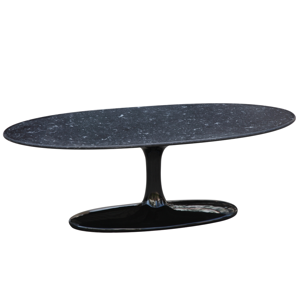 Fine Mod Imports  Flower Coffee Table Oval Marble Top, Black