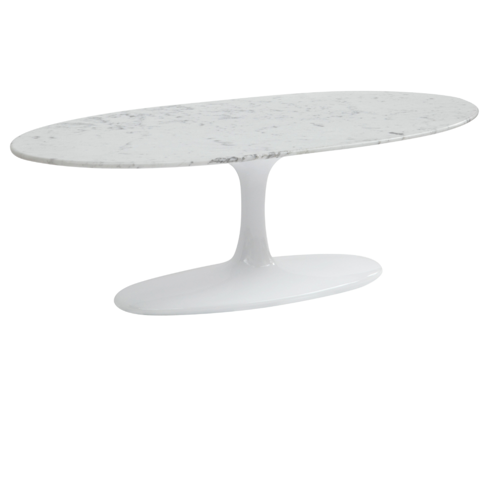 Fine Mod Imports  Flower Coffee Table Oval Marble Top, White