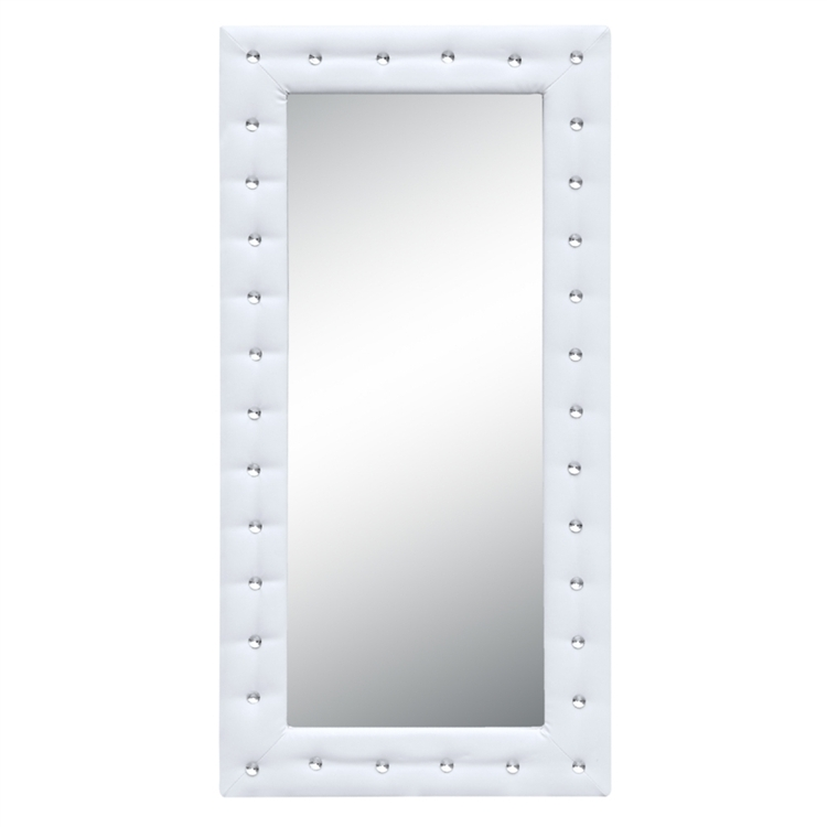 Fine Mod Imports  Tufted Mirror, White