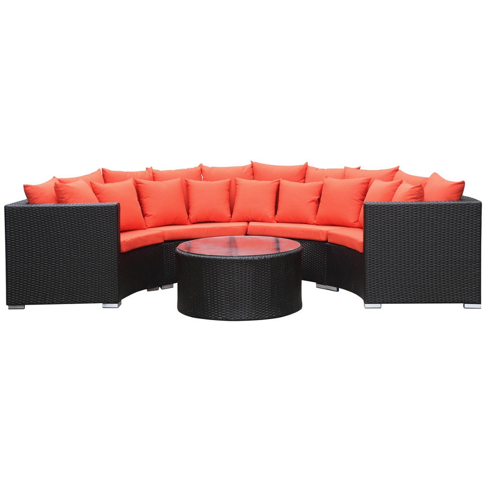 Fine Mod Imports  Roundano Outdoor Sofa Orange Cushions
