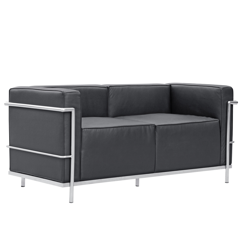 Fine Mod Imports  Grand Lc3 Loveseat, Black