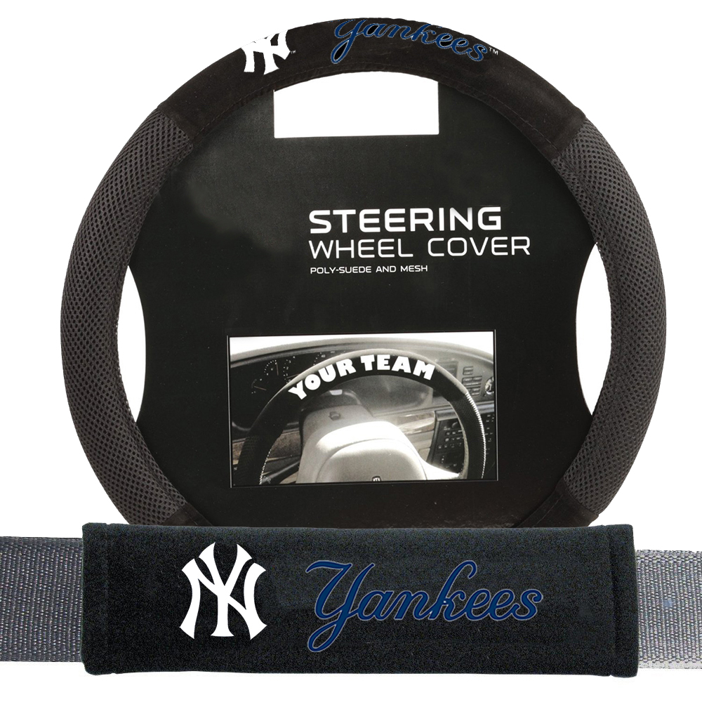 new york yankees mlb steering wheel cover and seatbelt pad auto deluxe kit 2 pc set. Black Bedroom Furniture Sets. Home Design Ideas