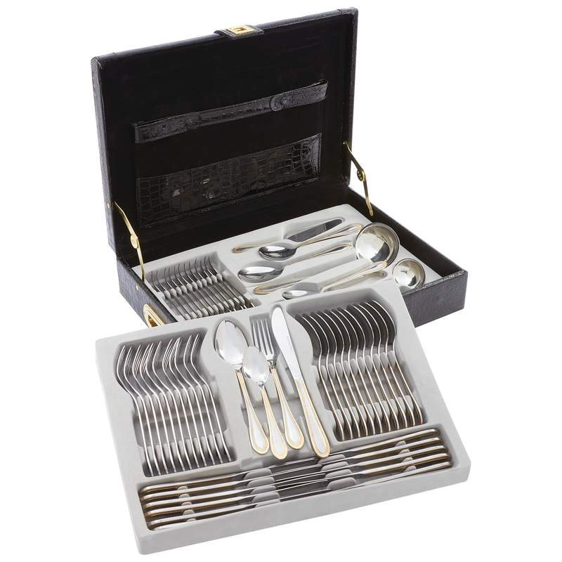 Sterlingcraft® High-quality, Heavy-gauge Stainless Steel 72pc Flatware And Hostess Set With Gold Trim - FW72G