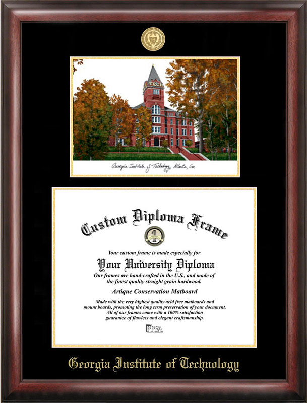 Georgia Institute of Technology Gold embossed diploma frame with Campus Images lithograph