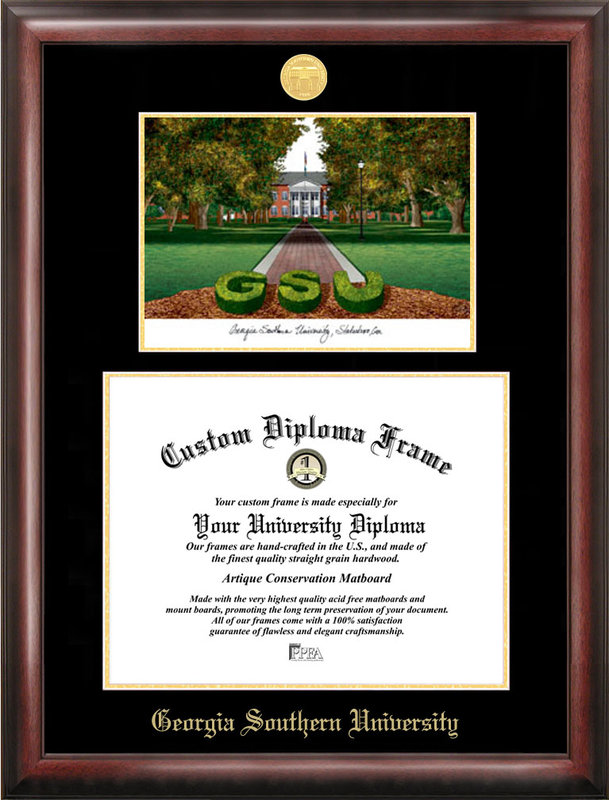 Georgia Southern Gold embossed diploma frame with Campus Images lithograph