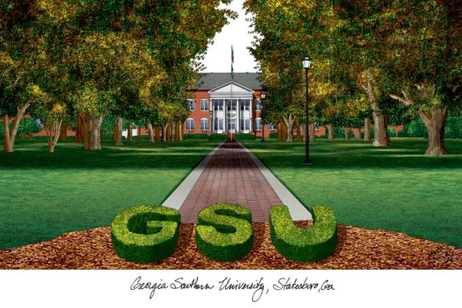 Georgia Southern Campus Images Lithograph Print