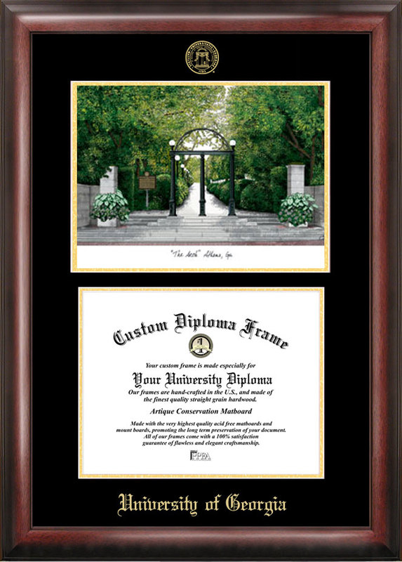 University of Georgia Gold embossed diploma frame with Campus Images lithograph