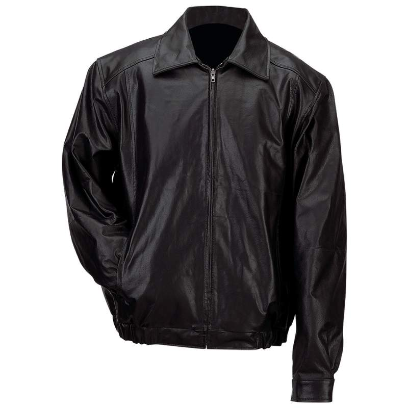 Gianni Collani™ Men's Solid Genuine Leather Bomber-style Jacket - Medium - GFBSLM