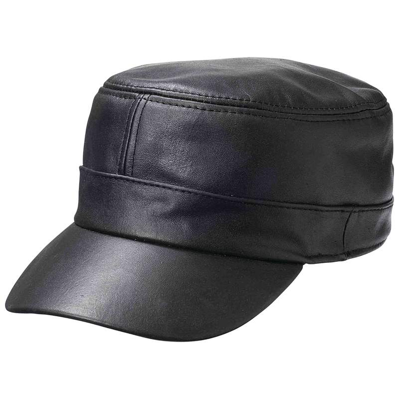 Casual Outfitters™ Solid Genuine Lambskin Leather Cap - GFCAP3