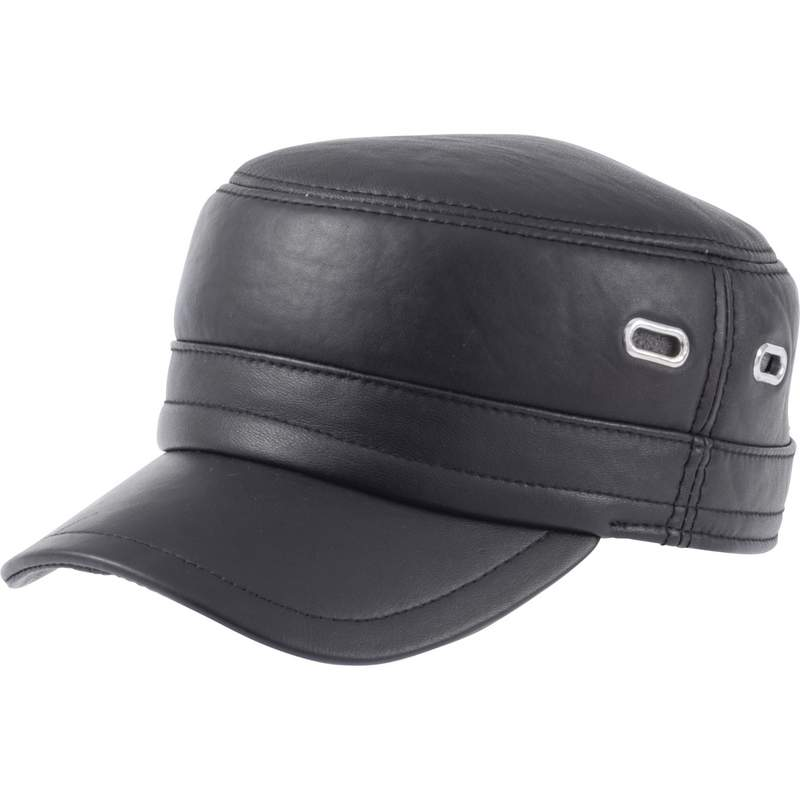 Casual Outfitters™ Solid Genuine Leather Cap - GFCAP4