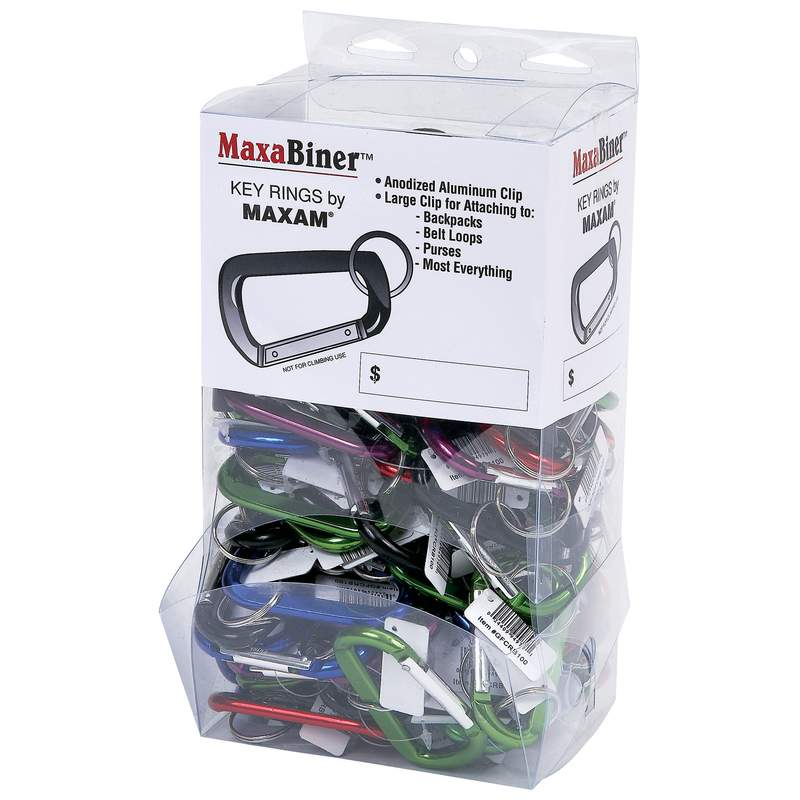 Maxam® 100pc Maxabiner™ Clips In Countertop Display - GFCRB100