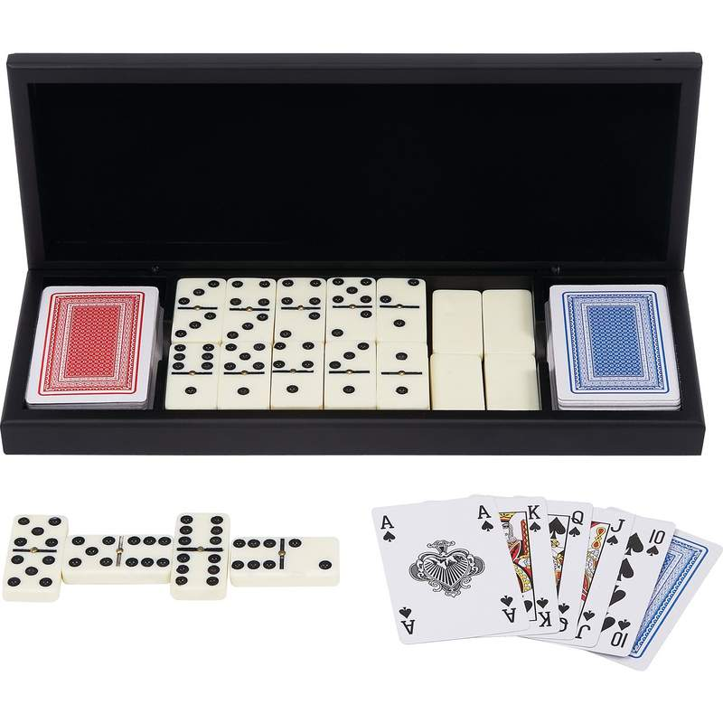 Alex Navarre™ 28pc Domino Set With 2 Decks Of Cards In Wood Gift Box - GFDOM