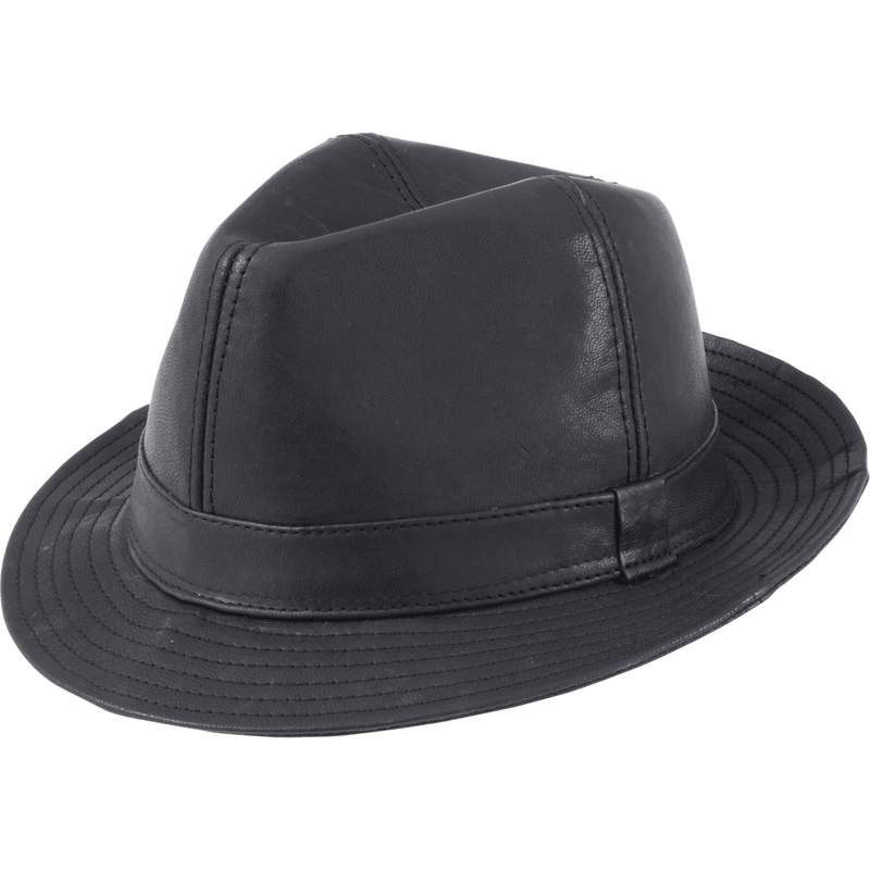 Casual Outfitters™ Solid Genuine Leather Fedora - GFHATFED
