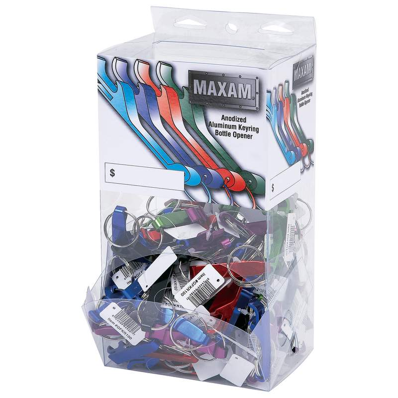 Maxam® 100pc Bottle Opener Keychains In Countertop Display - GFKR100