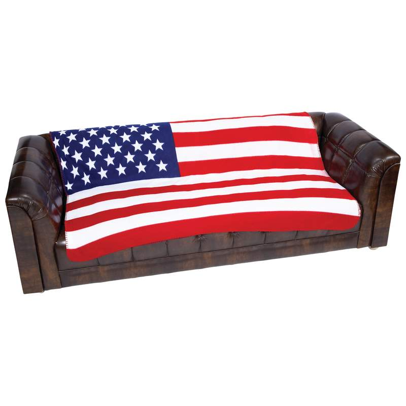 United States Flag Print Fleece Throw - GFLGBLK