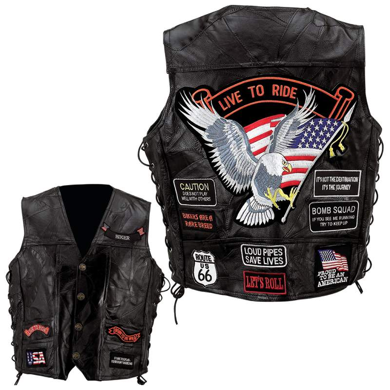 Diamond Plate™ Rock Design Genuine Buffalo Leather Vest - Extra Large - GFVBIK14XL