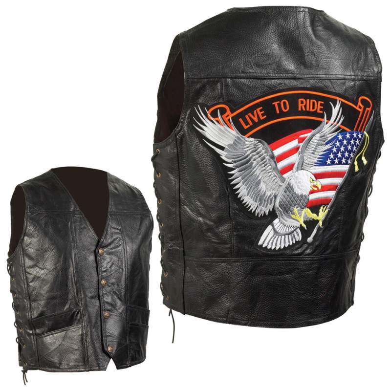 Diamond Plate™ Hand-sewn Pebble Grain Genuine Leather Biker Vest - 4x - GFVEMBPT4X