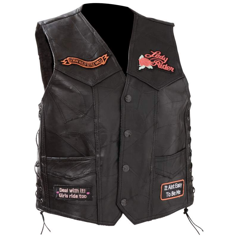 Diamond Plate™ Ladies' Rock Design Genuine Leather Vest - Small - GFVLADYS - GFVLADYS