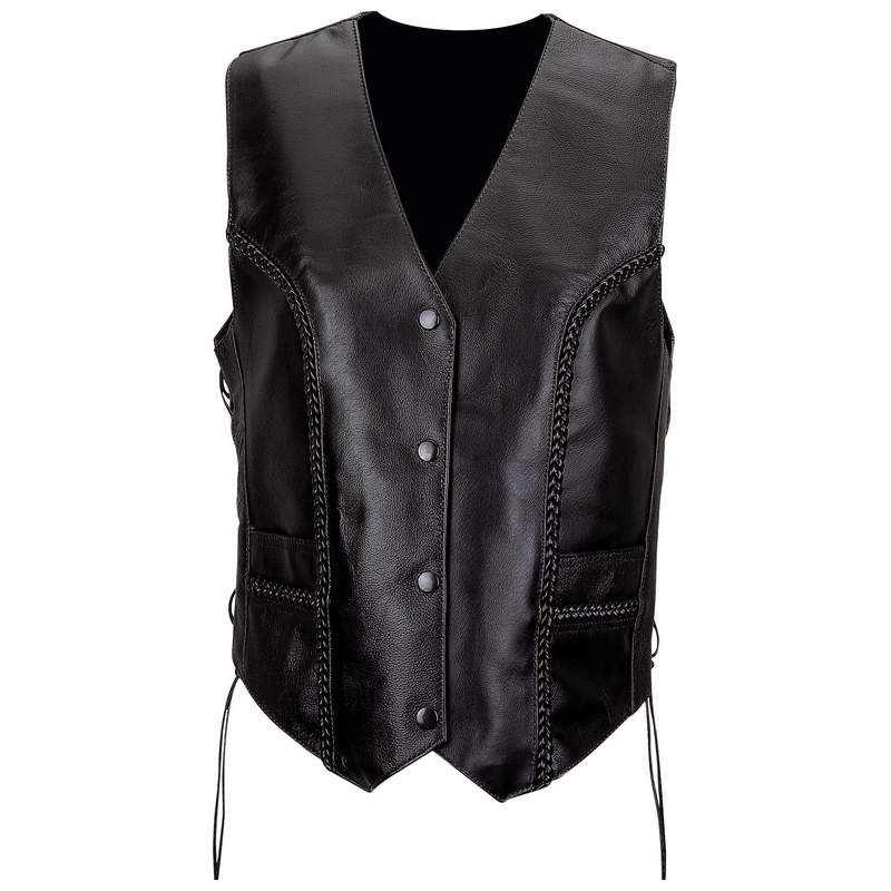 Diamond Plate™ Ladies' Solid Genuine Leather Vest - Medium - GFVLTRM - GFVLTRM
