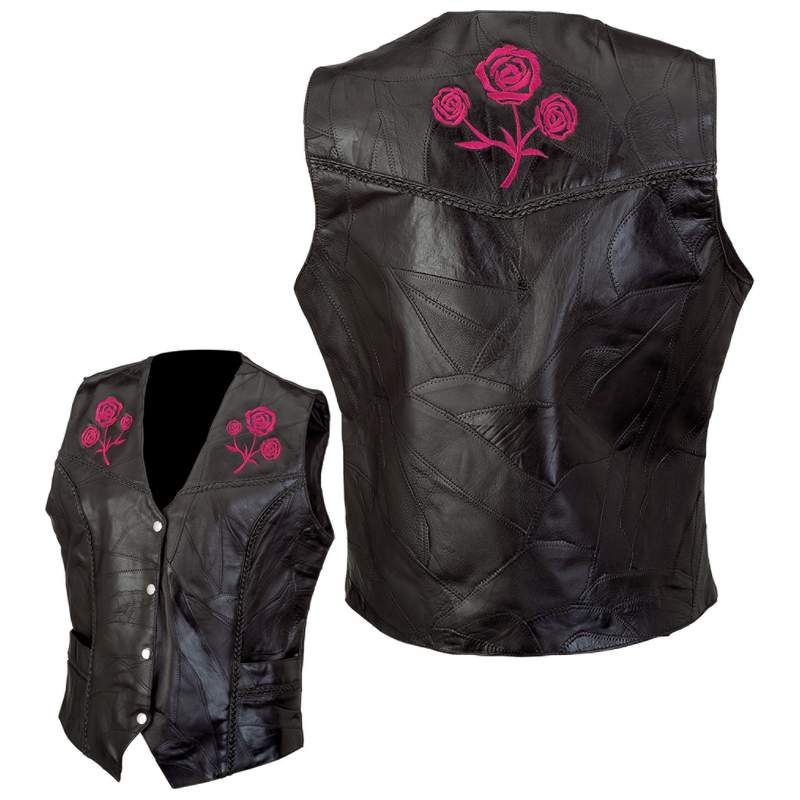 Live-ride-rock® Ladies' Rock Design Genuine Buffalo Leather Vest - Medium - GFVROSEM