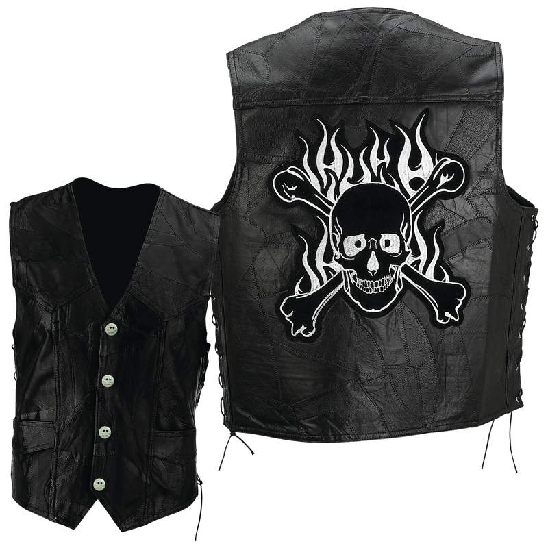 Diamond Plate™ Rock Design Genuine Buffalo Leather Motorcycle Vest - Extra Large - GFVSCBXL