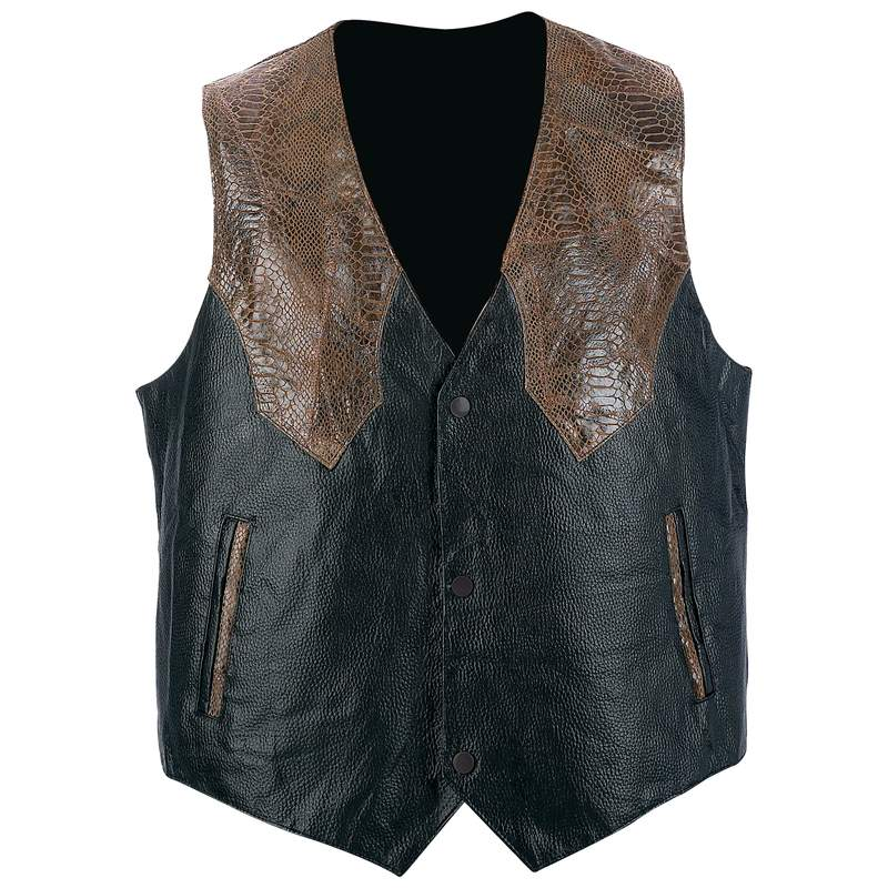 Giovanni Navarre® Hand-sewn Pebble Grain Genuine Leather Western-style Vest - Large - GFVWBRL - GFVWBRL