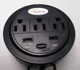 Sunway PowerTap USB Power Grommet [3 Power, 2 USB Ports]
