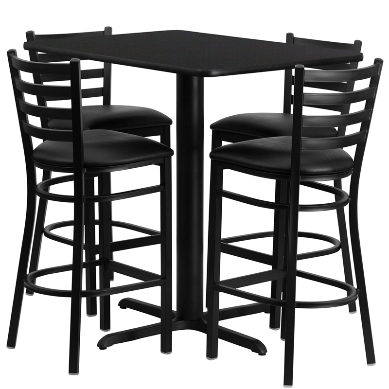 24'W x 42'L Rectangular Black Laminate Table Set with 4 Ladder Back Metal Bar Stools - Black Vinyl Seat