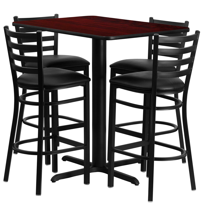 24'W x 42'L Rectangular Mahogany Laminate Table Set with 4 Ladder Back Metal Bar Stools - Black Vinyl Seat