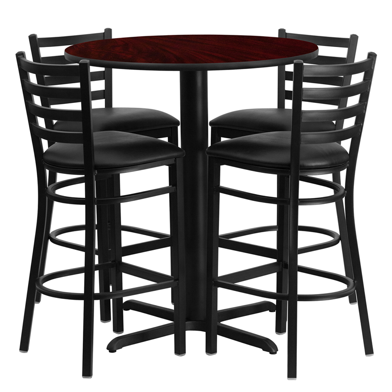 30 Round Mahogany Laminate Table Set with 4 Ladder Back Metal Bar Stools - Black Vinyl Seat