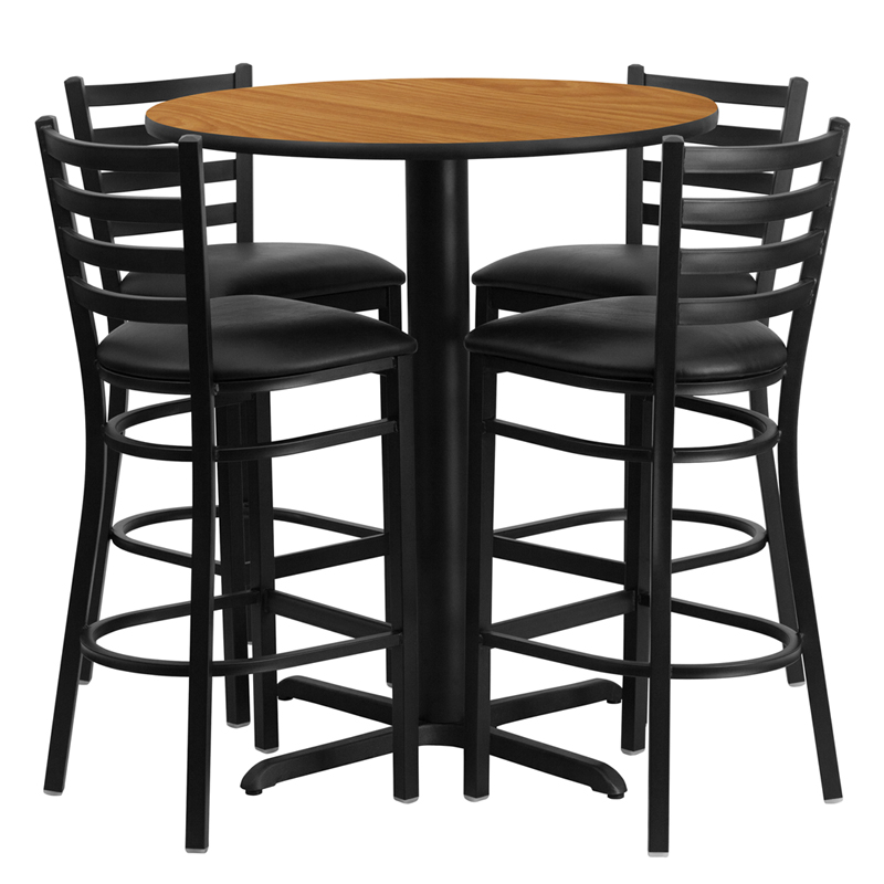 30' Round Natural Laminate Table Set with 4 Ladder Back Metal Bar Stools - Black Vinyl Seat