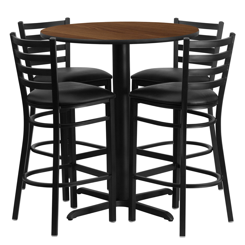 30' Round Walnut Laminate Table Set with 4 Ladder Back Metal Bar Stools - Black Vinyl Seat