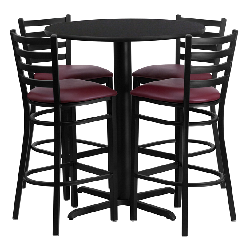 30' Round Black Laminate Table Set with 4 Ladder Back Metal Bar Stools - Burgundy Vinyl Seat
