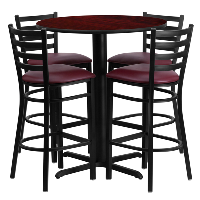 30' Round Mahogany Laminate Table Set with 4 Ladder Back Metal Bar Stools - Burgundy Vinyl Seat