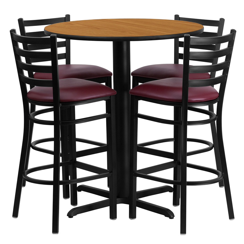 30' Round Natural Laminate Table Set with 4 Ladder Back Metal Bar Stools - Burgundy Vinyl Seat