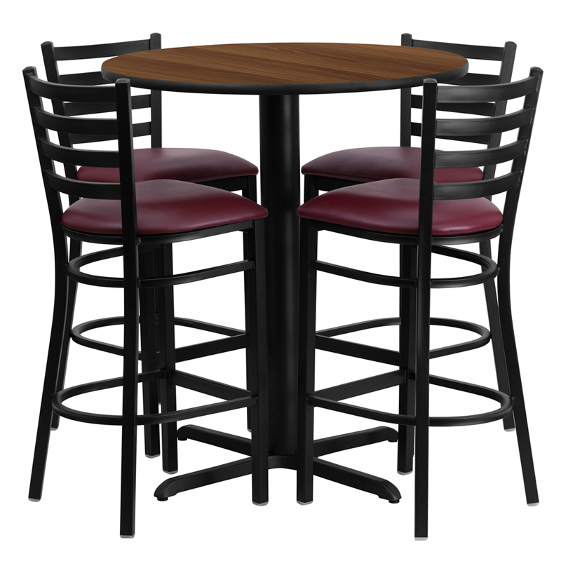 30' Round Walnut Laminate Table Set with 4 Ladder Back Metal Bar Stools - Burgundy Vinyl Seat
