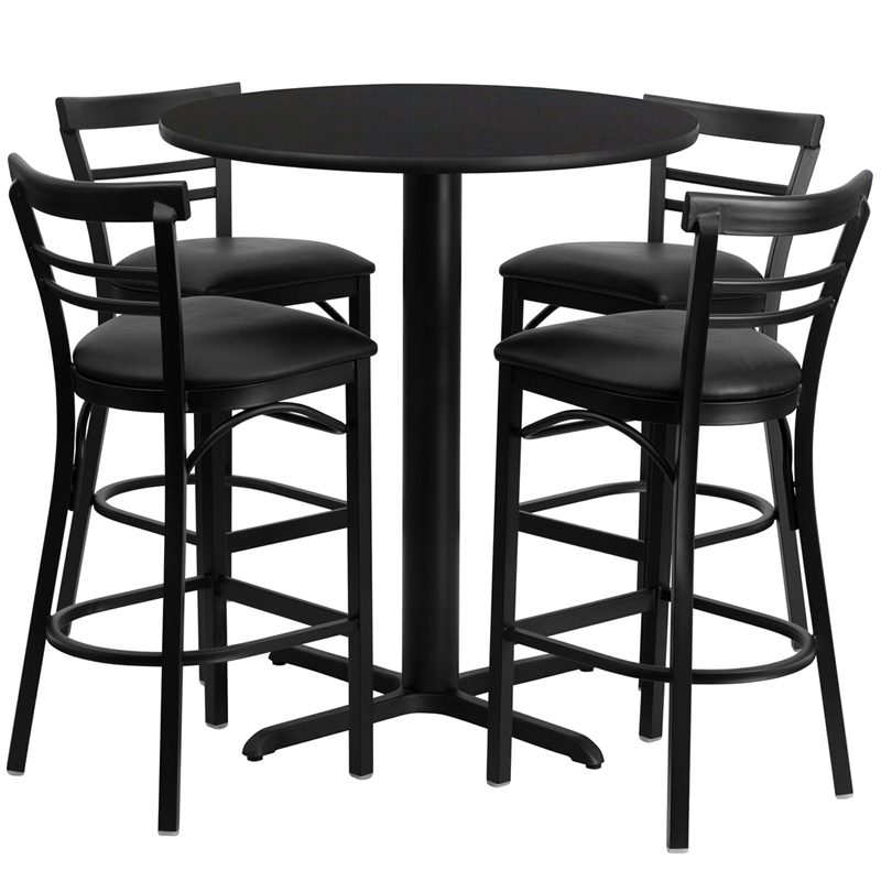 24' Round Black Laminate Table Set with 4 Ladder Back Metal Bar Stools - Black Vinyl Seat