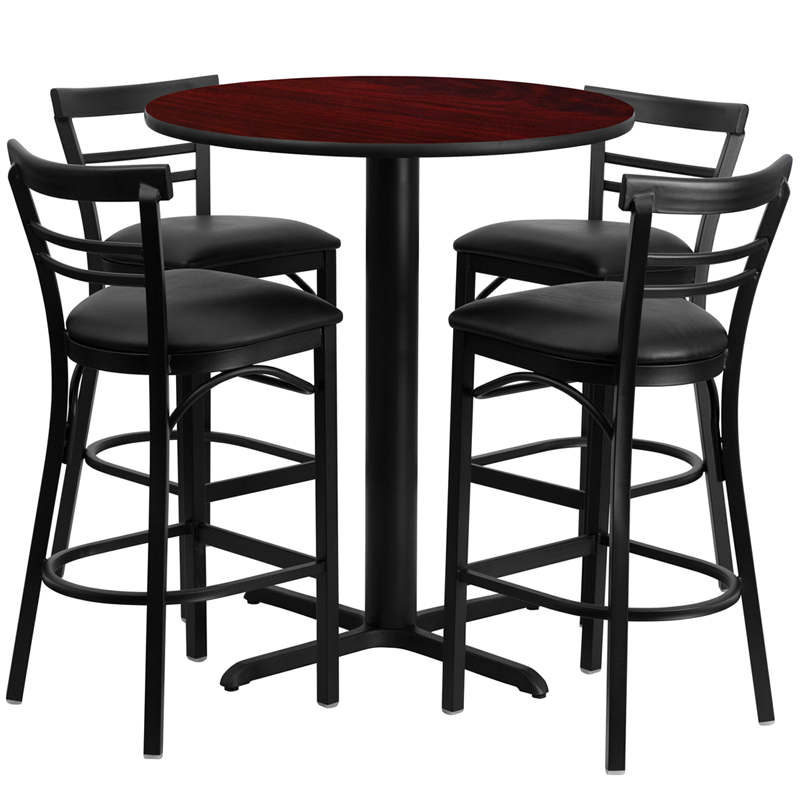 24' Round Mahogany Laminate Table Set with 4 Ladder Back Metal Bar Stools - Black Vinyl Seat