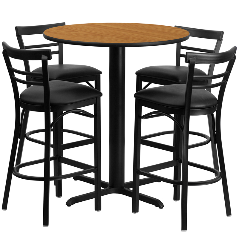 24' Round Natural Laminate Table Set with 4 Ladder Back Metal Bar Stools - Black Vinyl Seat
