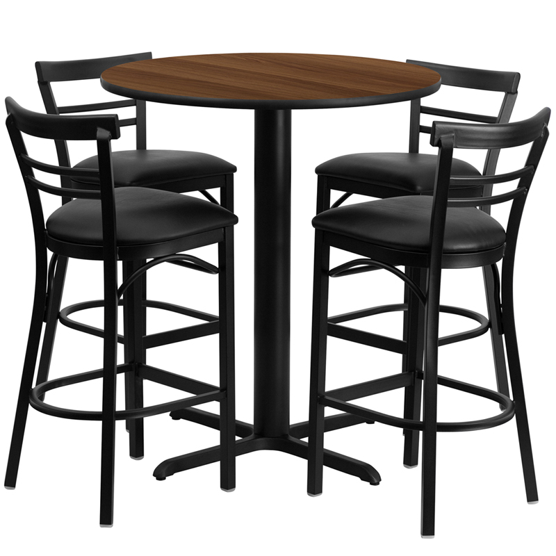 24' Round Walnut Laminate Table Set with 4 Ladder Back Metal Bar Stools - Black Vinyl Seat