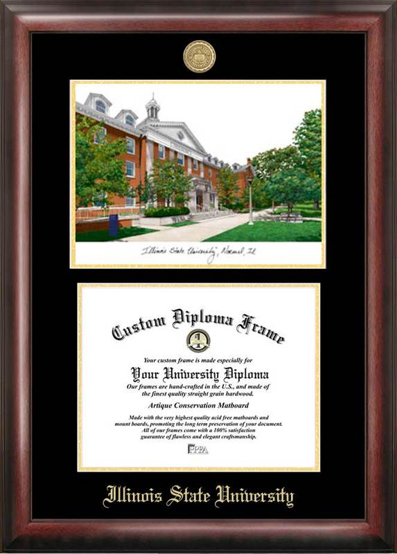 Illinois State Gold embossed diploma frame with Campus Images lithograph