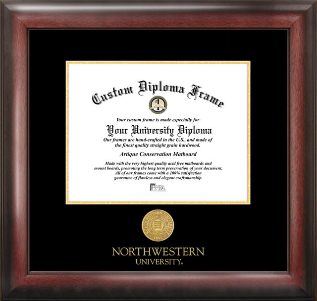 Northwestern  University Gold Embossed Diploma Frame