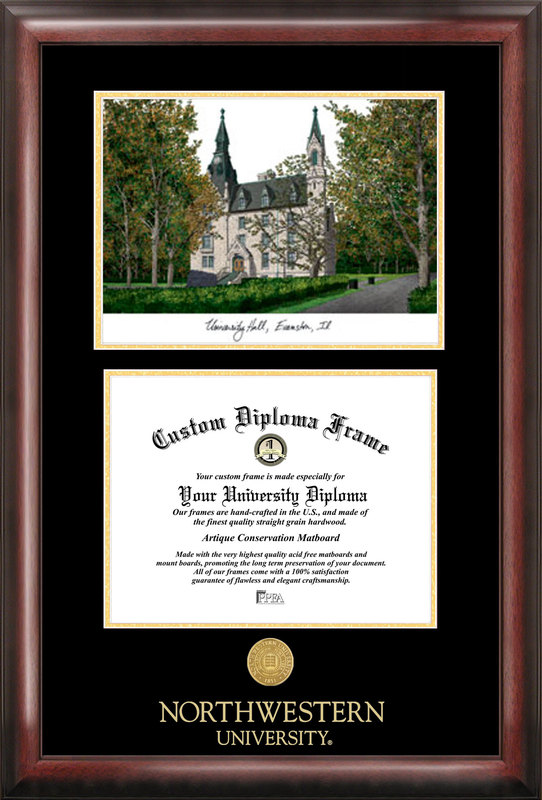 Northwestern  University Gold embossed diploma frame with Campus Images lithograph