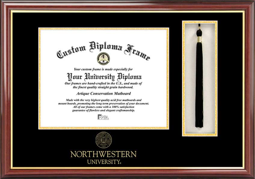 Northwestern University  Tassel Box and Diploma Frame