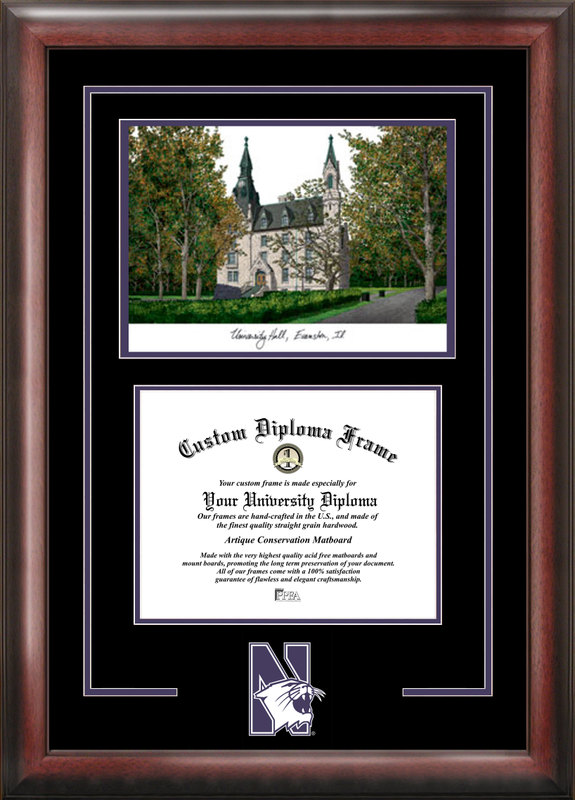 Northwestern  University Spirit  Graduate Frame with Campus Image