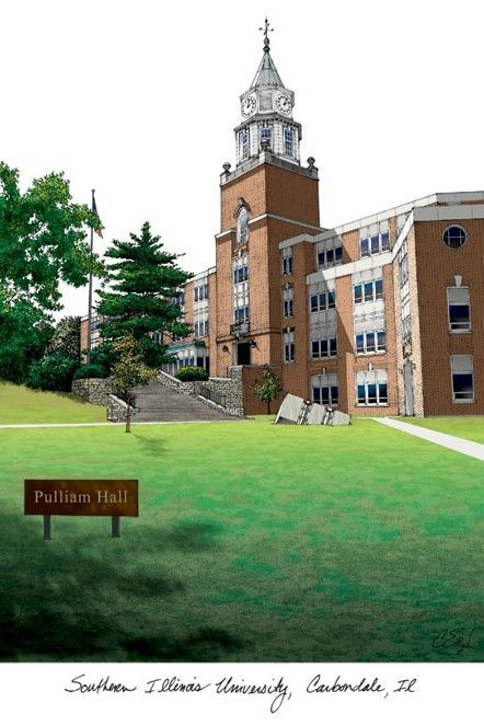 Southern Illinois  University Campus Images Lithograph Print - IL972