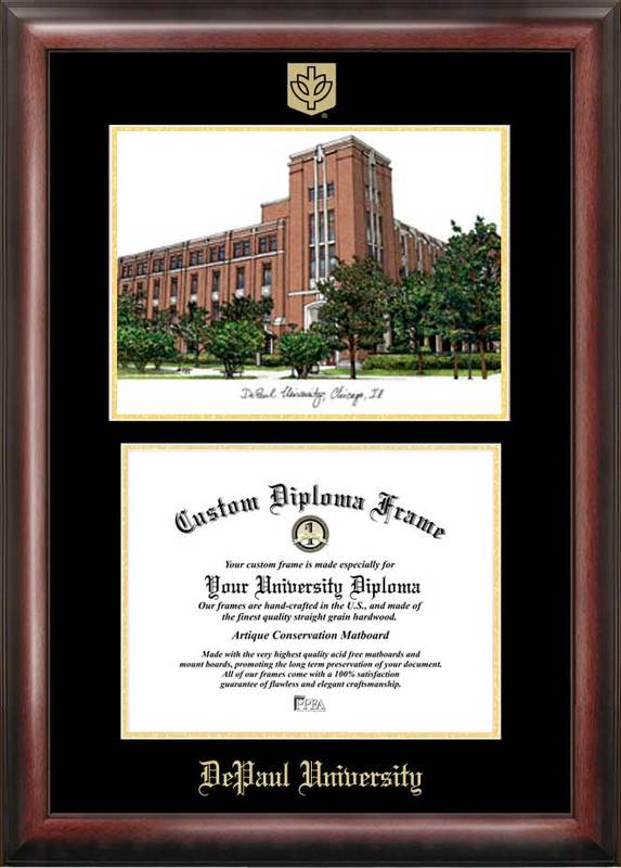 DePaul University Gold embossed diploma frame with Campus Images lithograph