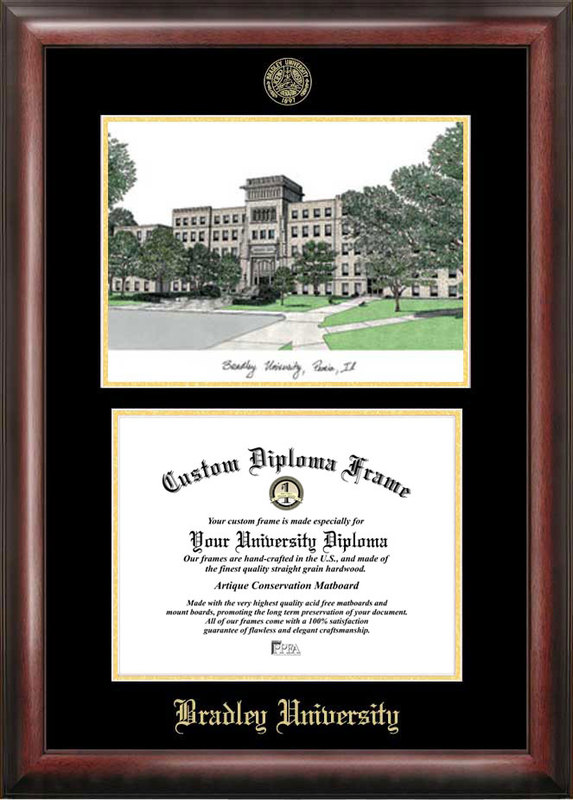 Bradley University Gold embossed diploma frame with Campus Images lithograph