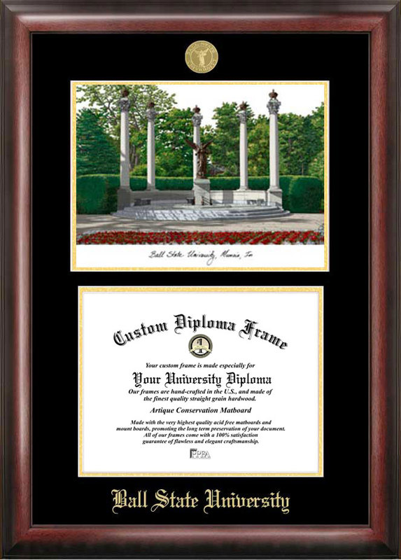 Ball State University Gold embossed diploma frame with Campus Images lithograph